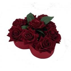 Coeur Floral Roses Rouge 15 cm