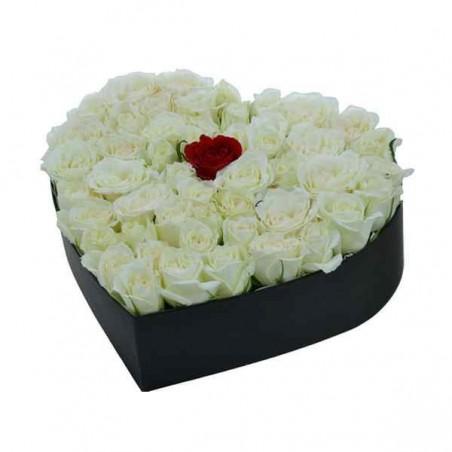 Coffret Coeur Floral  Blanc...